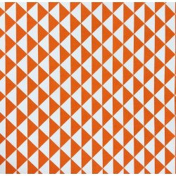 Coton Imprimé motif triangles orange/blanc. Oekotex100