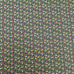 Coton Imprimé sweet little leaves sur fond vert. Designer Poppy. Oekotex 100