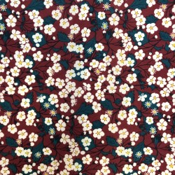 Tissu LIBERTY OF LONDON - MITSI E- fond bordeaux