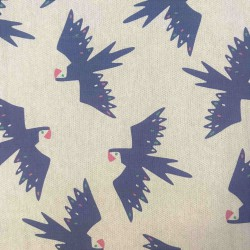 Coton canvas slim demi-natté Tropical Birds, perroquets sur fond écru naturel. By Katia Fabrics Oekotex 100