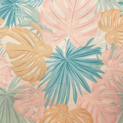 Polyester Eco-responsable Baikal Maldives Tropicali. Feuilles tropicales rose/menthe/ocre pastel. Oekotex 100